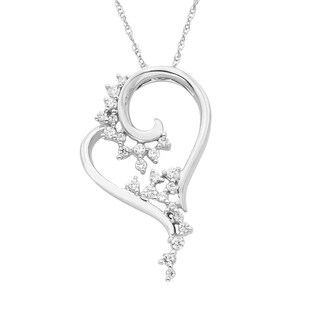 Boston Bay Diamonds 14k White Gold 1/5ct TDW Scattered Diamond Heart Pendant w/ Chain
