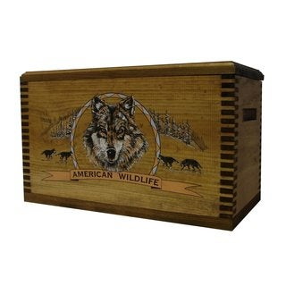 Colored Wolf Print Wooden Accessory Box