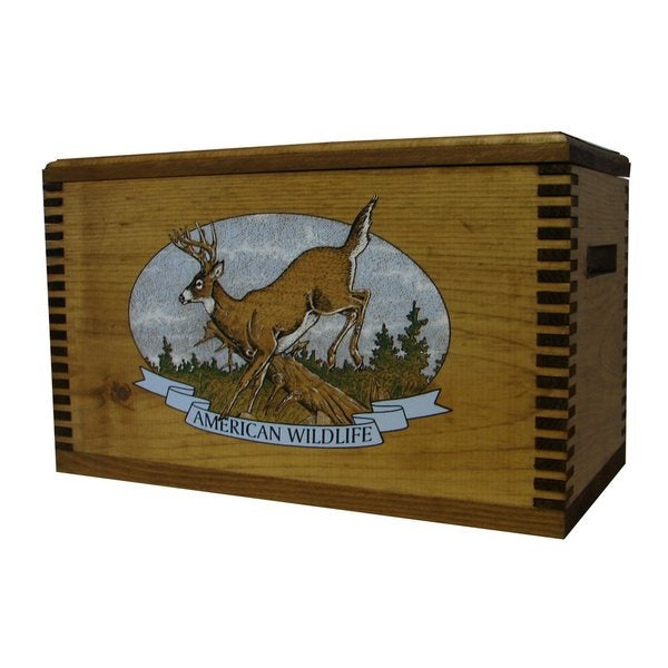 Brown Wood Buck-themed Ammo Accessory Box
