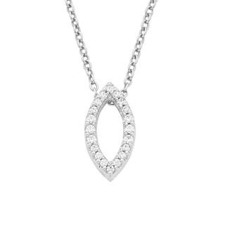 Boston Bay Diamonds 14k White Gold 1/8ct TDW Diamond Marquise Fashion Pendant Necklace (H-I, I1-I2)