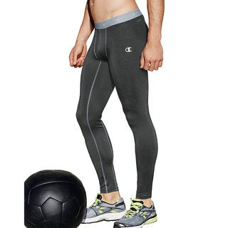 Champion Gear Men's Grey/White Polyester/Spandex Compression Tights