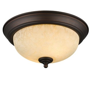 Golden Lighting Brown/White Steel Flush Mount Fixture