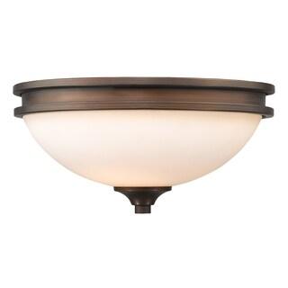 Golden Lighting Hidalgo Sovereign Bronze Steel/Opal Glass Flush-mount Light Fixture