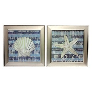 Urban Design Coastal Collection Star Fish and Shell Square Framed Wall Art (Set of 2)