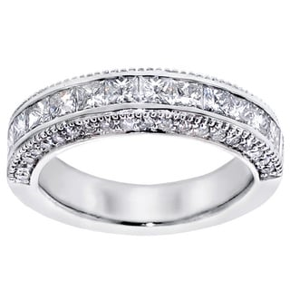 14k/18k White Gold 2ct TDW Princess-cut Diamond Wedding Band with Round Side Stones (G-H, SI1-SI2)
