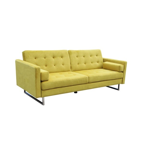 Shop Verona Butter Yellow Suede Sleeper Sofa
