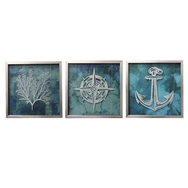 shop coastal collection nautical square framed wall art set of 3 free shipping today. Black Bedroom Furniture Sets. Home Design Ideas