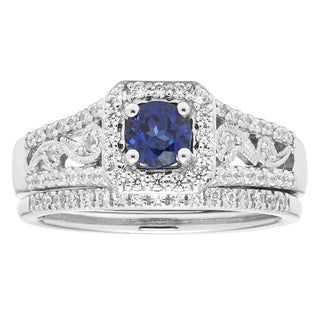 Boston Bay Diamonds 14k White Gold 3/4ct Diamond and Sapphire Bridal Set (H-I, I1-I2)