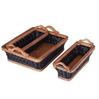 Dark Rope Wicker Basket Tray Set (Set of 3)