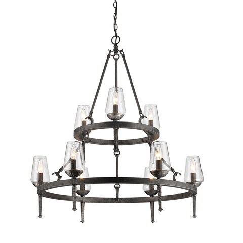 Golden Lighting Marcellis Dark Iron Steel 2-tier 9-light Chandelier
