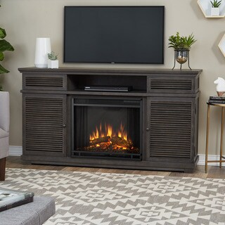 Real Flame Cavallo Grey Finish 58.81 in. L x 16.38 in. D x 32.25 in. H Electric Fireplace Entertainment Center