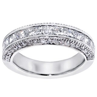 Platinum 2ct TDW Princess-cut Diamond Wedding Band with Round Side Stones (More options available)