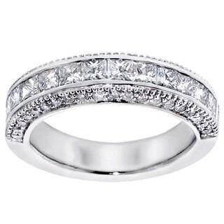 Platinum 2ct TDW Princess-cut Diamond Wedding Band with Round Side Stones