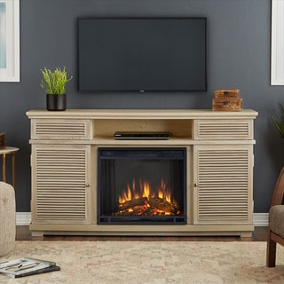 Real Flame Cavallo Weathered White Finish 58.81 in. L x 16.38 in. D x 32.25 in. H Electric Entertainment Fireplace