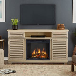 Real Flame Cavallo Weathered White Finish 58.81 in. L x 16.38 in. D x 32.25 in. H Electric Entertainment Fireplace https://ak1.ostkcdn.com/images/products/12754276/P19530512.jpg?impolicy=medium