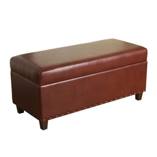 HomePop Branford Storage Bench with Nailhead Trim Chili