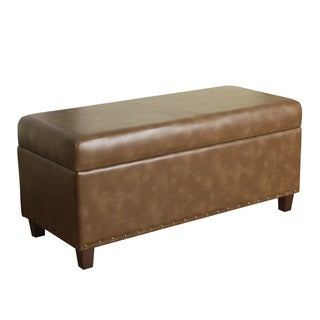 HomePop Branford Storage Bench with Nailhead Trim Molasses
