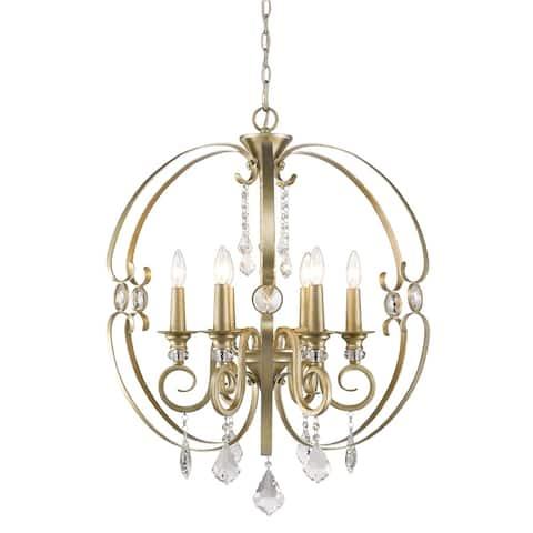 Golden Lighting Ella Bronze/White Gold-tone Steel 6-light Chandelier