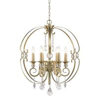 Golden Lighting Ella Bronze/White Gold-tone Steel 6-light Chandelier - Sovereign Bronze