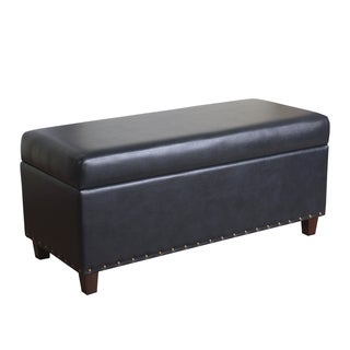 HomePop Branford Storage Bench with Nailhead Trim Navy Blue