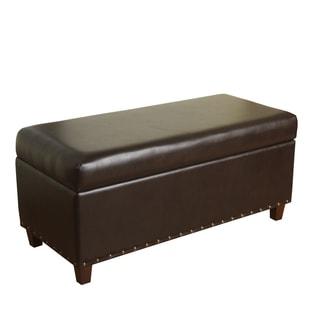 Dark Brown Bi Cast Leather Storage Bench With Nailhead