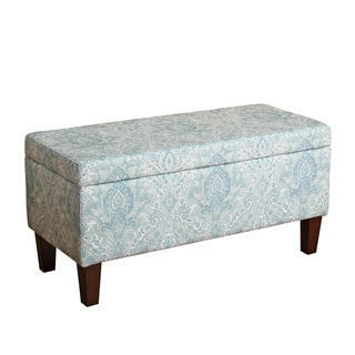 HomePop Bailey Storage Bench Pale Blue