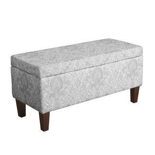HomePop Bailey Storage Bench Gray