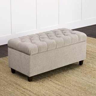 HomePop Ainsley Button Tufted Storage Bench Silver Ash