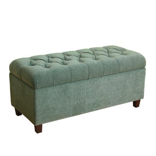 HomePop Ainsley Button Tufted Storage Bench Mineral Blue