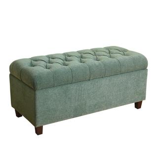 HomePop Ainsley Button Tufted Storage Bench Mineral Blue