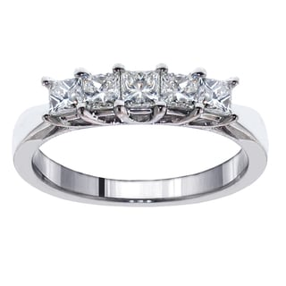 14k/18k White Gold 1ct TDW 5-Stone Princess-cut Braided Prong Anniversary Wedding Ring