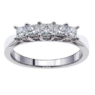 14k/18k White Gold 1ct TDW 5-Stone Princess-cut Braided Prong Anniversary Wedding Ring