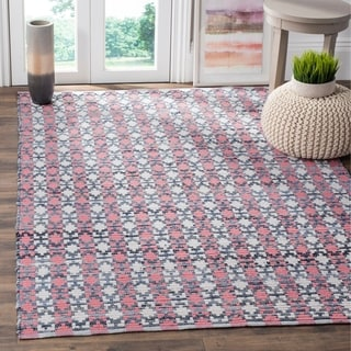 Safavieh Hand-Woven Montauk Flatweave Coral / Multicolored Cotton Rug (9' x 12')