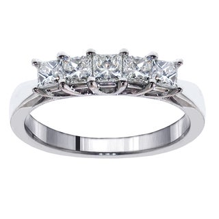 Platinum 1ct TDW 5-Stone Princess-cut Braided Prong Anniversary Wedding Ring