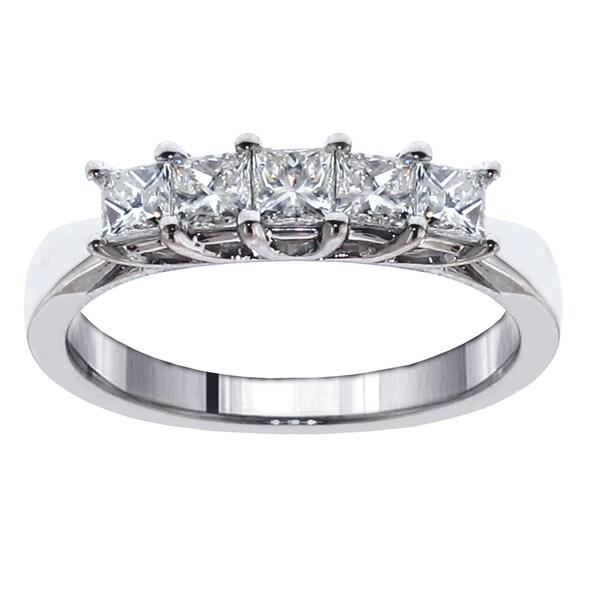 Shop Platinum 1ct Tdw 5 Stone Princess Cut Braided Prong
