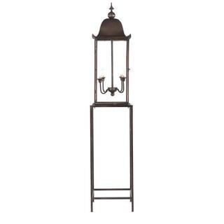 Artezia Black/Brown Aluminum/Glass 4-light Post Lantern Floor Lamp