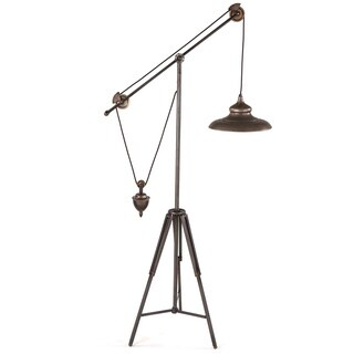 Artezia Antique Brass Industrial Pulley Floor Lamp with Metal Shade