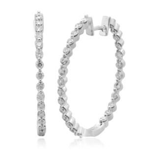 10k White Gold 2ct TDW Diamond Prong-set Hoop Earring (H-I, I2-I3)