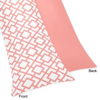 Sweet Jojo Designs White and Coral Mod Diamond Body Pillow Case