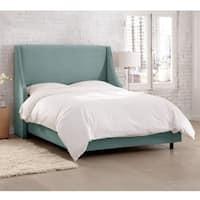 Skyline Furniture Velvet Caribbean Swoop Arm Wingback Bed