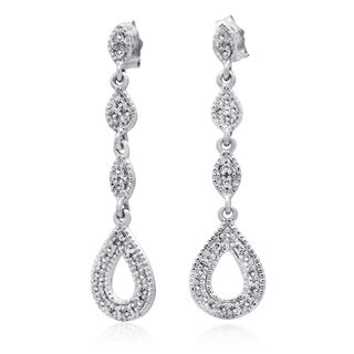 10k White Gold 1/5ct TDW Diamond Tear Drop Chandelier Earring