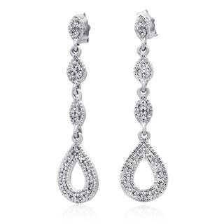 10k White Gold 1/5ct TDW Diamond Tear Drop Chandelier Earring