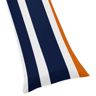 Sweet Jojo Designs Navy Blue and Orange Stripe Collection Body Pillow Case
