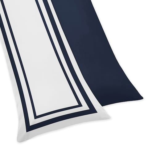 Sweet Jojo Designs White and Navy Hotel Collection Body Pillow Case - Multi
