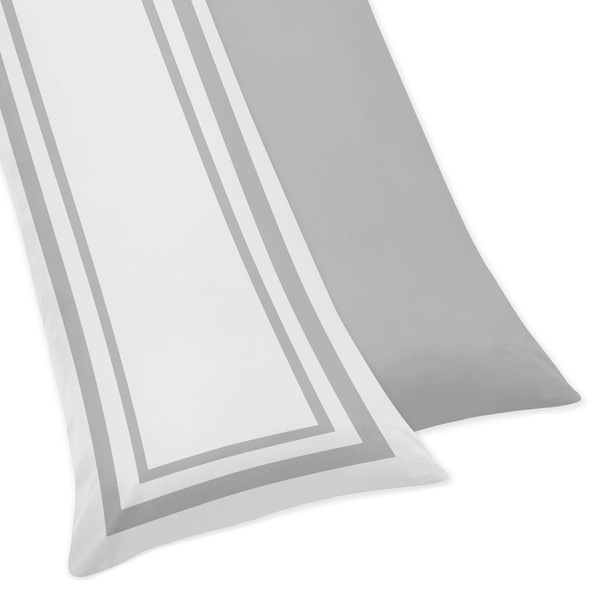Sweet Jojo Designs White and Gray Hotel Collection Body Pillow Case