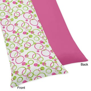 Sweet Jojo Designs Pink and Green Mod Circles Collection Body Pillow Case