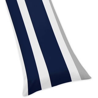 Sweet Jojo Designs Navy Blue and Gray Stripe Collection Body Pillow Case