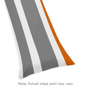 Sweet Jojo Designs Gray and Orange Stripe Collection Body Pillow Case