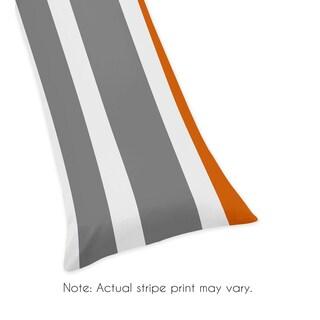 Sweet Jojo Designs Gray and Orange Stripe Collection Body Pillow Case
