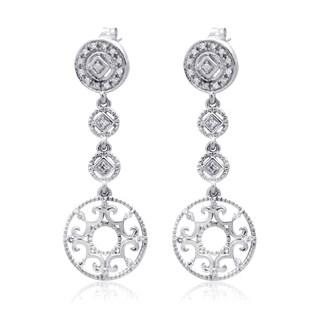 10k White Gold 1/5ct TDW Diamond Circle Dangle Chandelier Earring